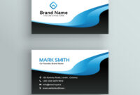 Professional Blue Wave Business Card Template throughout Professional Name Card Template