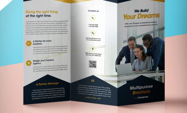 Professional Corporate Tri-Fold Brochure Free Psd Template inside 3 Fold Brochure Template Psd