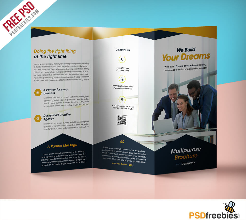 Professional Corporate Tri-Fold Brochure Free Psd Template intended for Three Panel Brochure Template