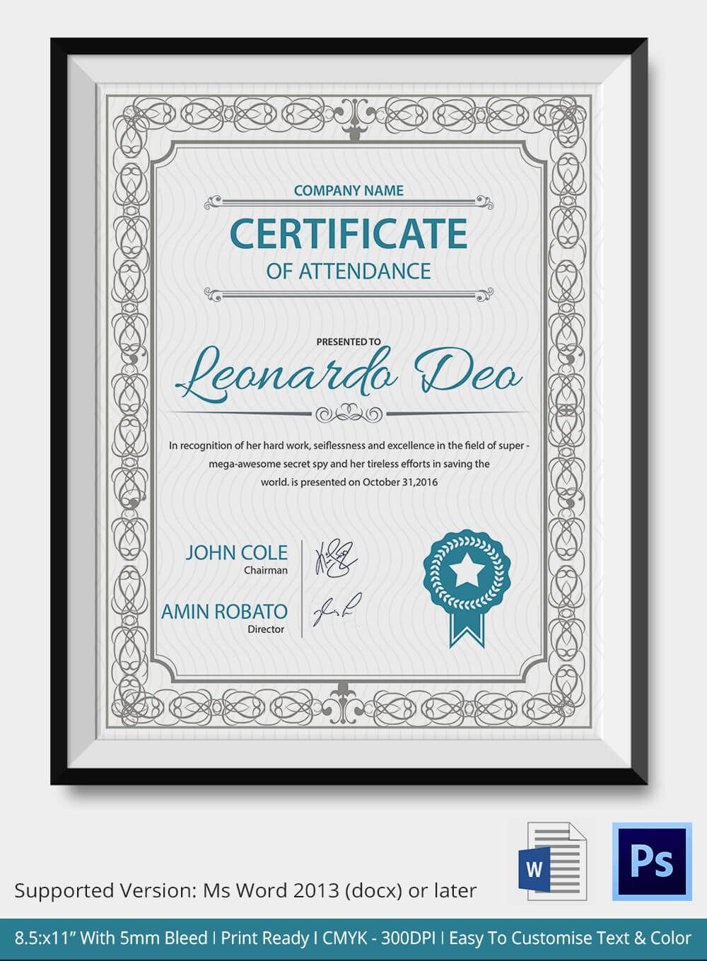 Professional Editable Certificate Of Attendance Template with regard to Professional Certificate Templates For Word