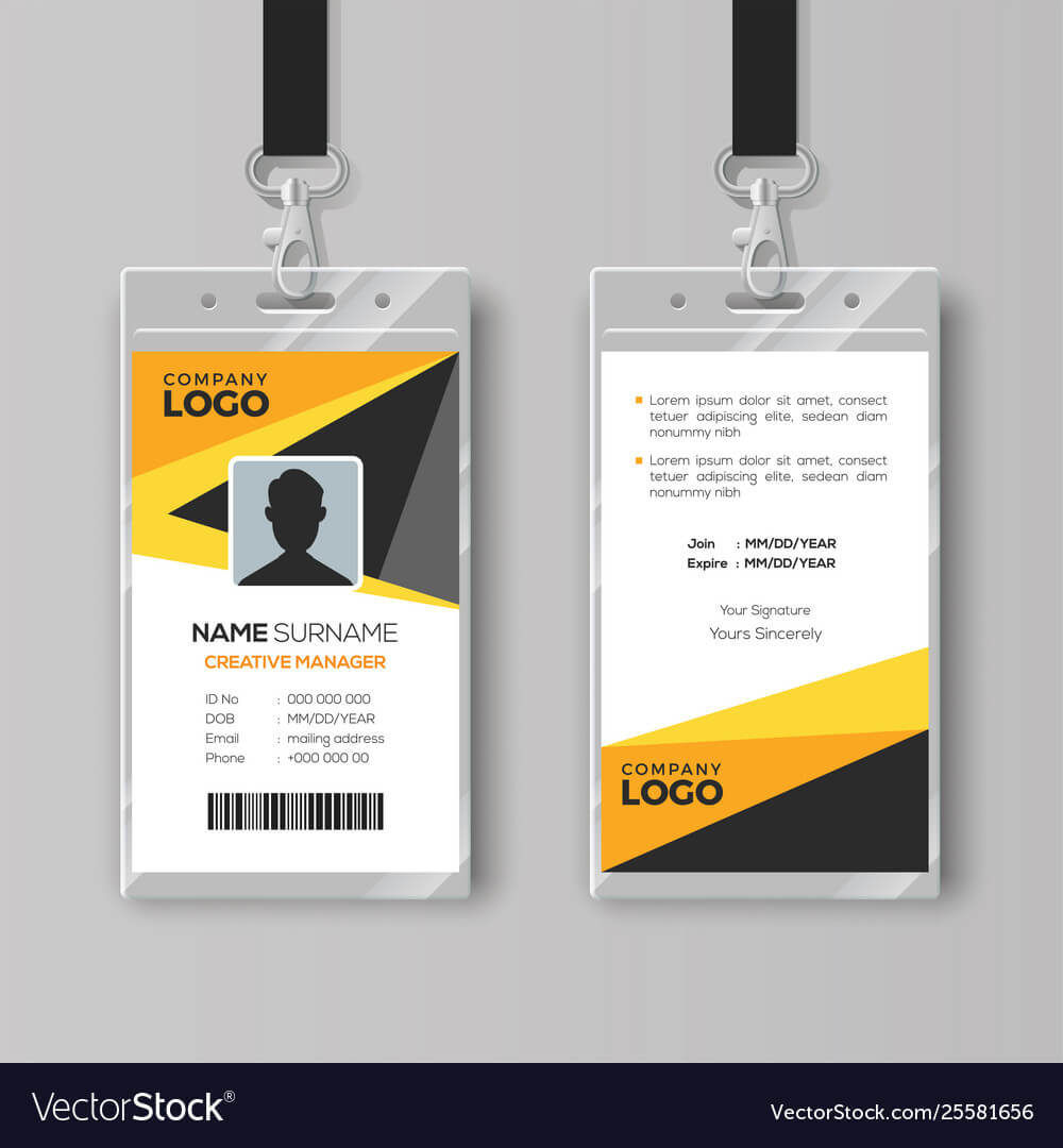 Professional Id Card Template With Yellow Details regarding Id Card Template Ai