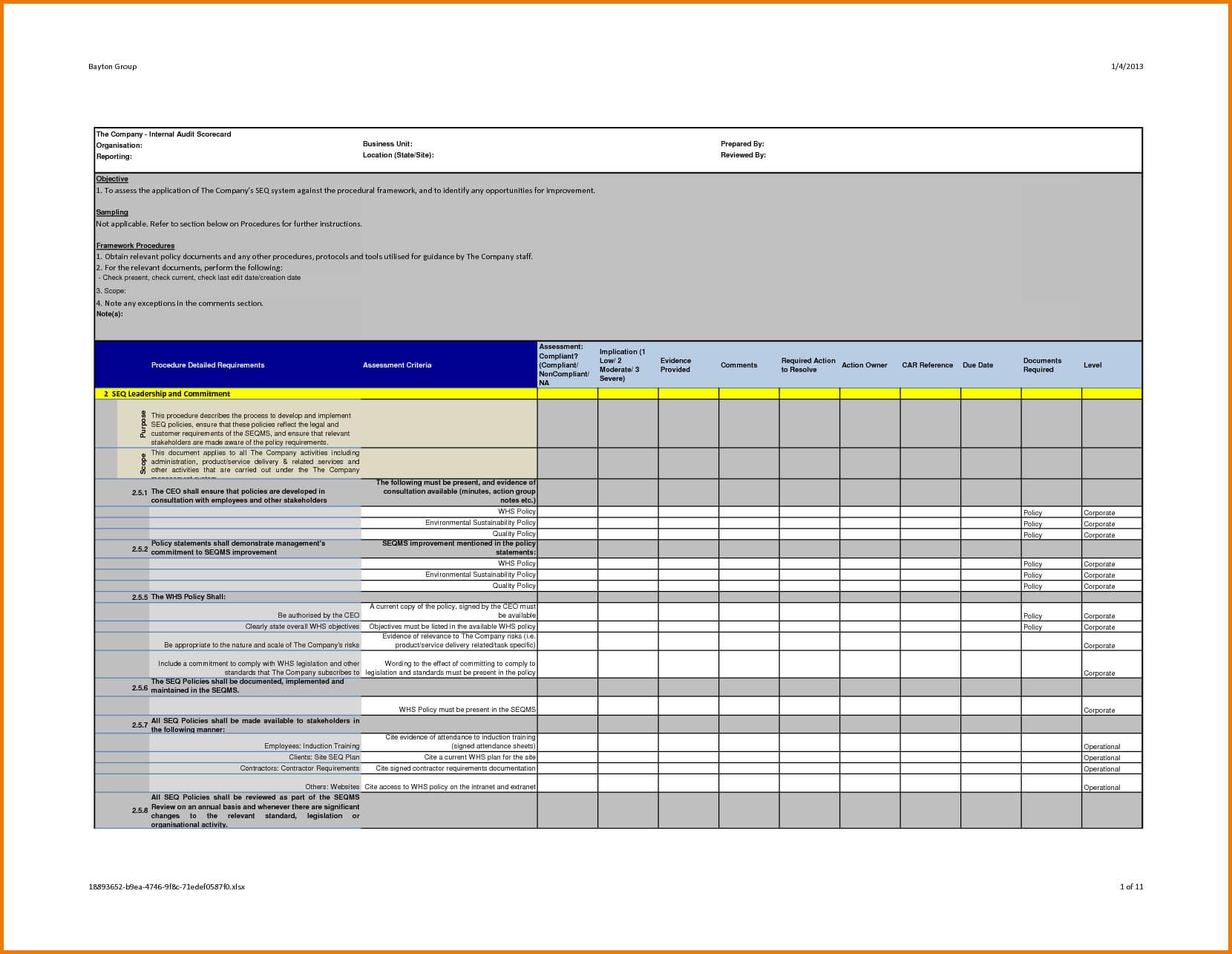 Professional Internal Audit Report Template Example With within Security Audit Report Template