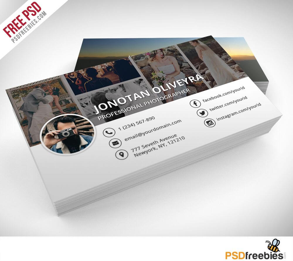 Professional Photographer Business Card Psd Template Freebie with regard to Photography Business Card Templates Free Download