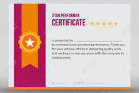 Professional Purple And Gold Star Performer Print Ready Certificate.. with regard to Star Performer Certificate Templates