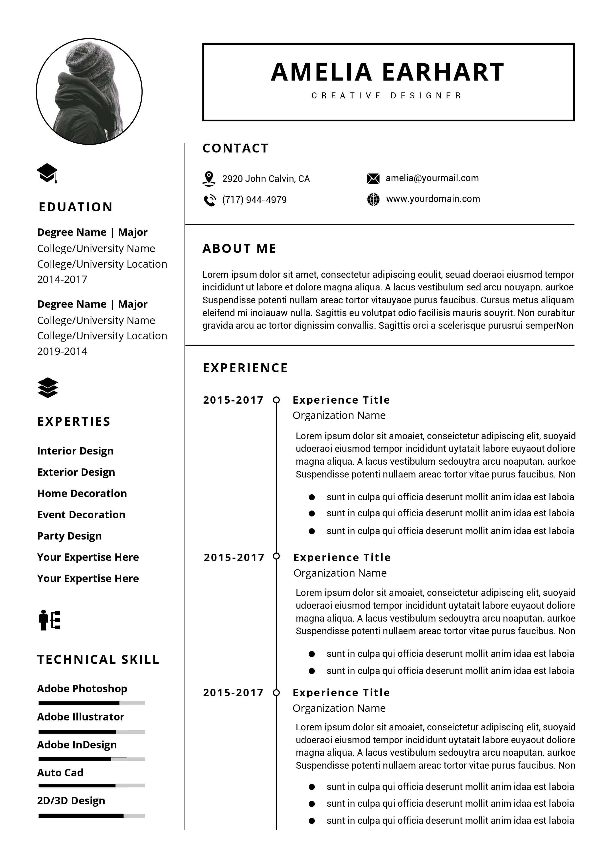 Professional Resume / Cv Template Instant Download   Ms Word in How To Create A Cv Template In Word