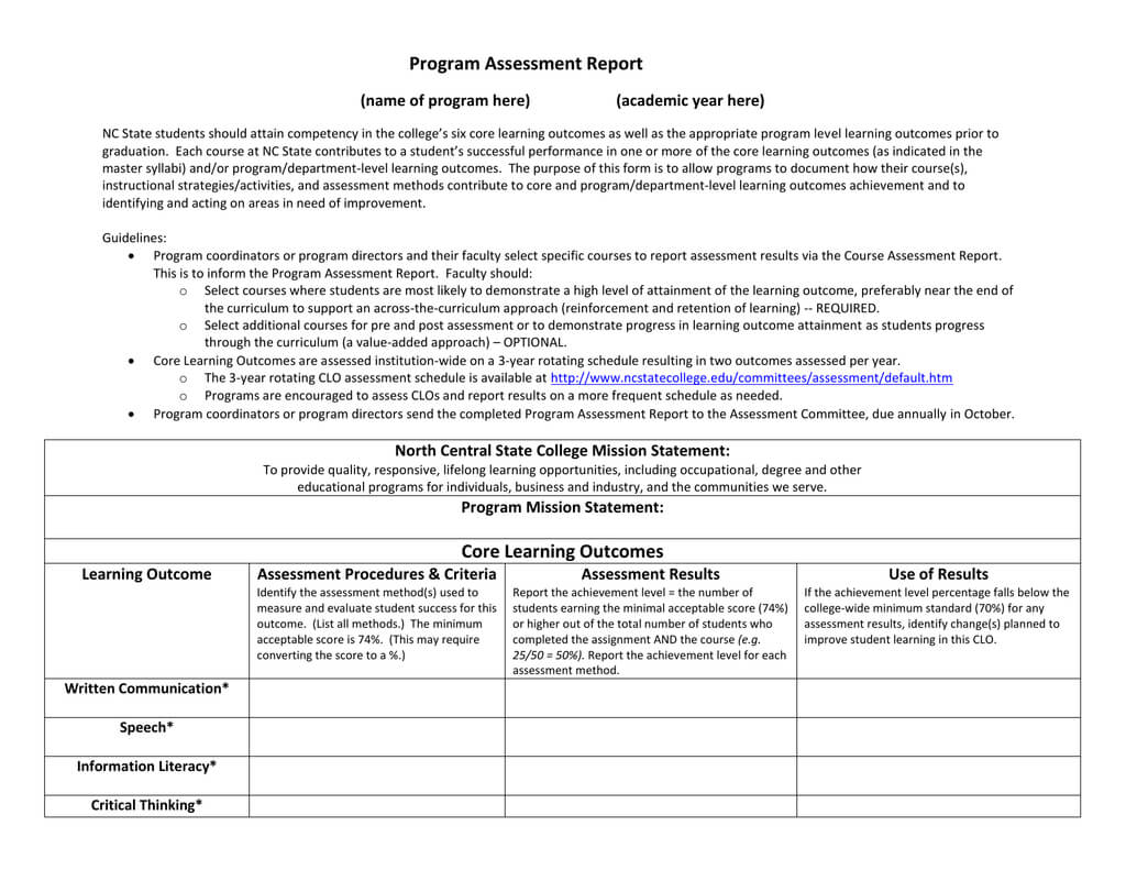 Program Assessment Report Template Within Data Quality Assessment Report Template