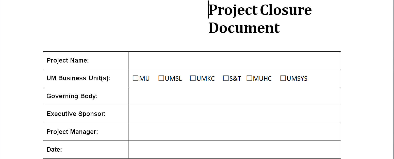 Project Closure Report Template for Closure Report Template