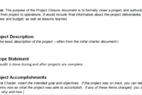 Project Closure Report Template within Closure Report Template