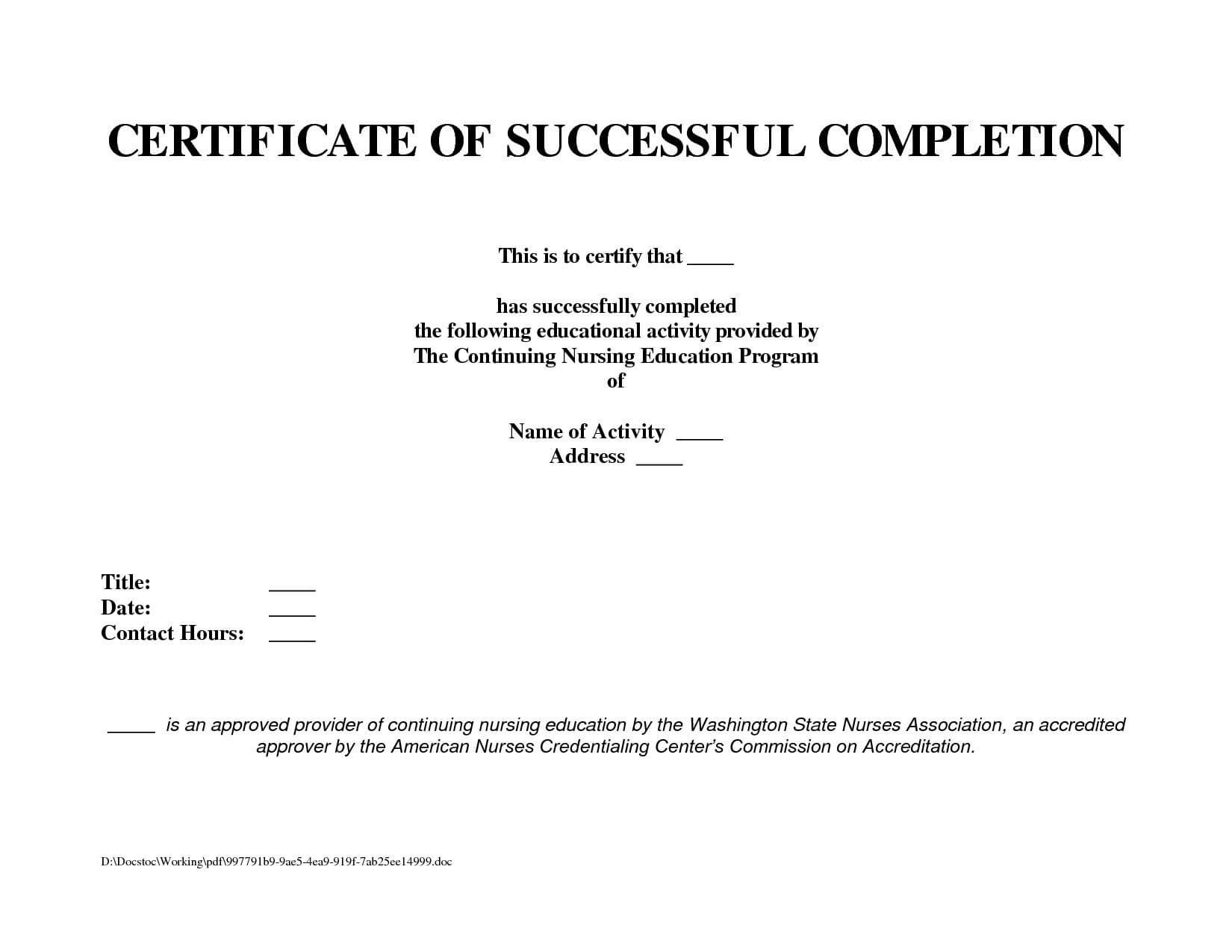 Project Completion Certificate Samples New Work Pletion Within Certificate Template For Project Completion