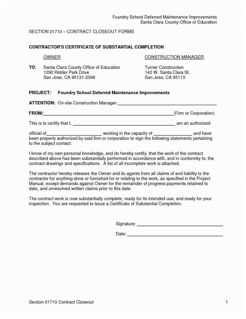 Project Completion Email Sample Copy Certificate Pletion New inside Certificate Of Substantial Completion Template