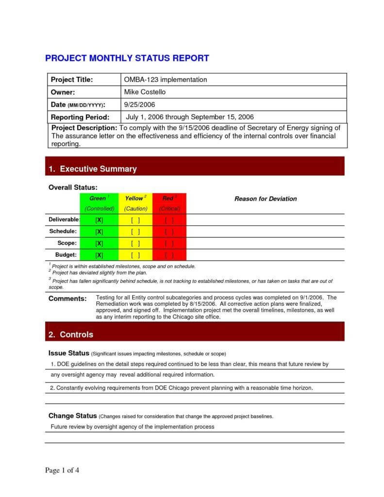 Project Daily Status Report Template Excel And Create Weekly Intended For Project Implementation Report Template