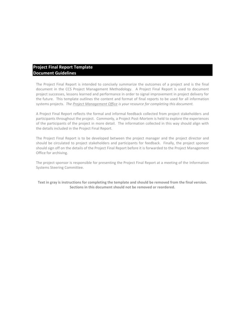 Project Final Report Template Pertaining To Project Management Final Report Template