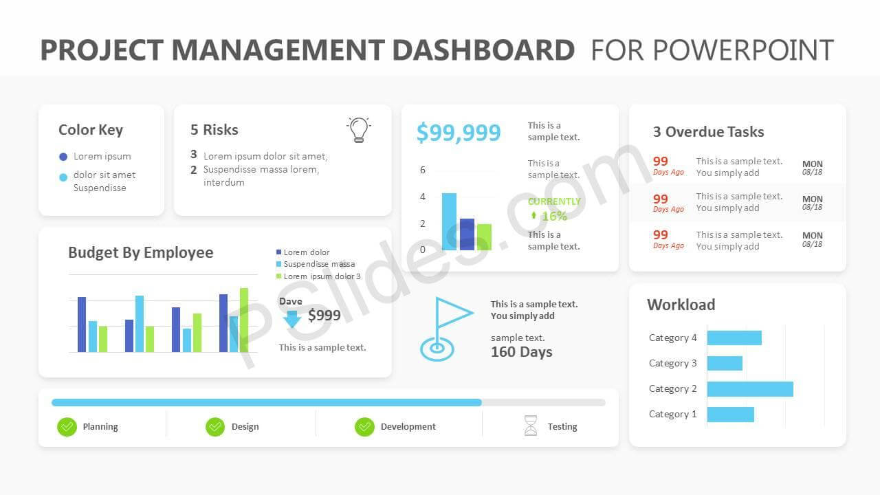 Project Management Dashboard Powerpoint Template - Pslides Pertaining To Project Dashboard Template Powerpoint Free