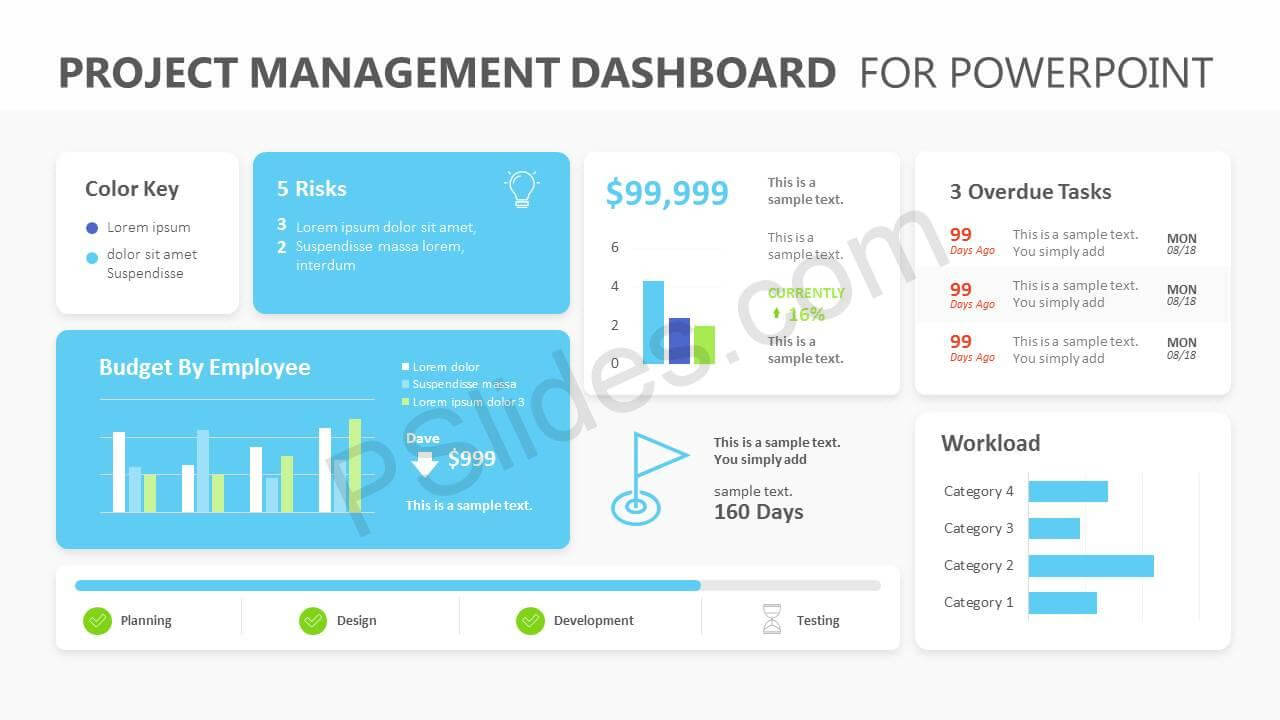 Project Management Dashboard Powerpoint Template - Pslides with Project Dashboard Template Powerpoint Free