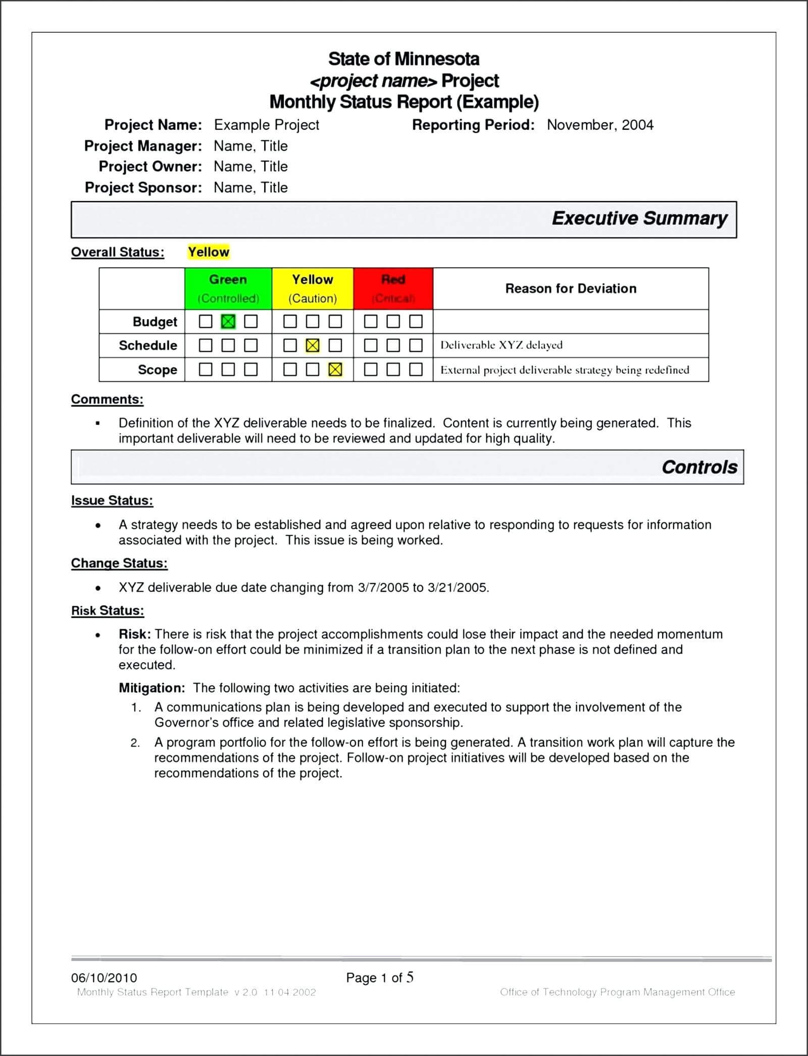Project Management Report Template Excel Atus Free S with It Management Report Template