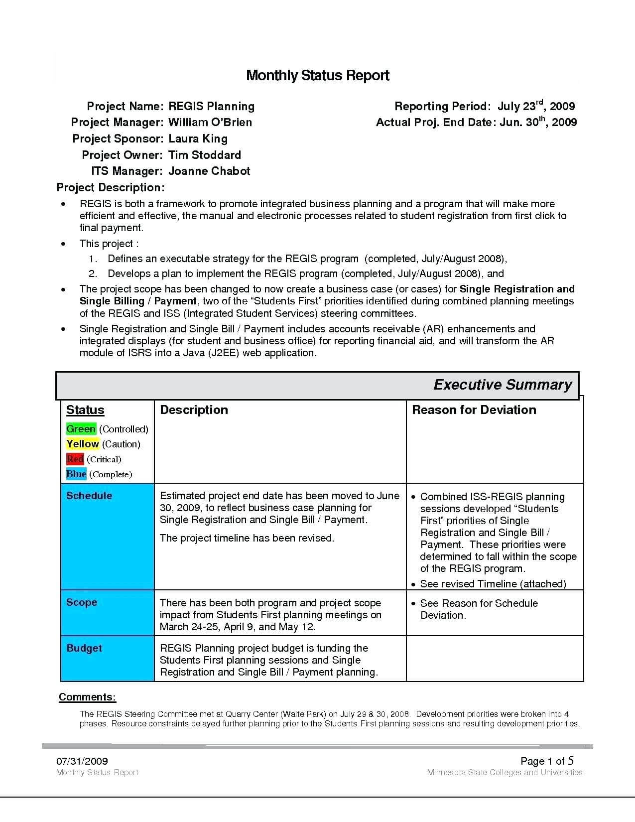 Project Management Status Report Template Reports Format with Deviation Report Template