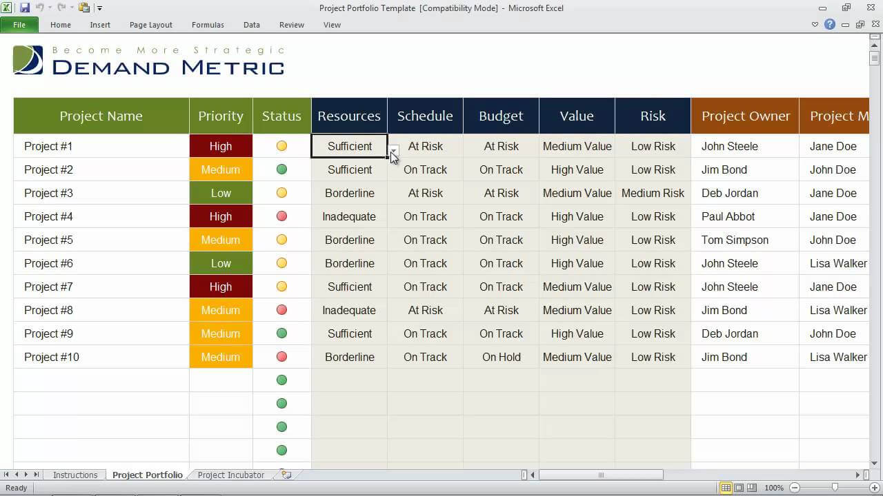 Project Portfolio Template For Portfolio Management Reporting Templates
