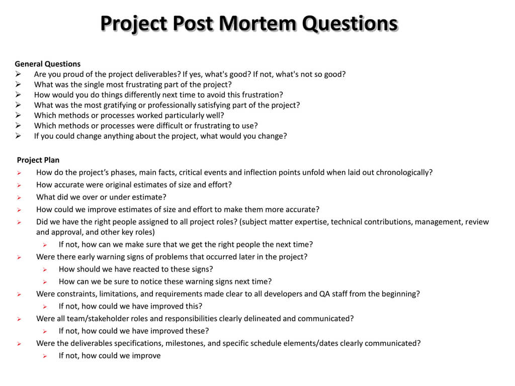 Project Post Mortem Questions pertaining to Post Mortem Template Powerpoint