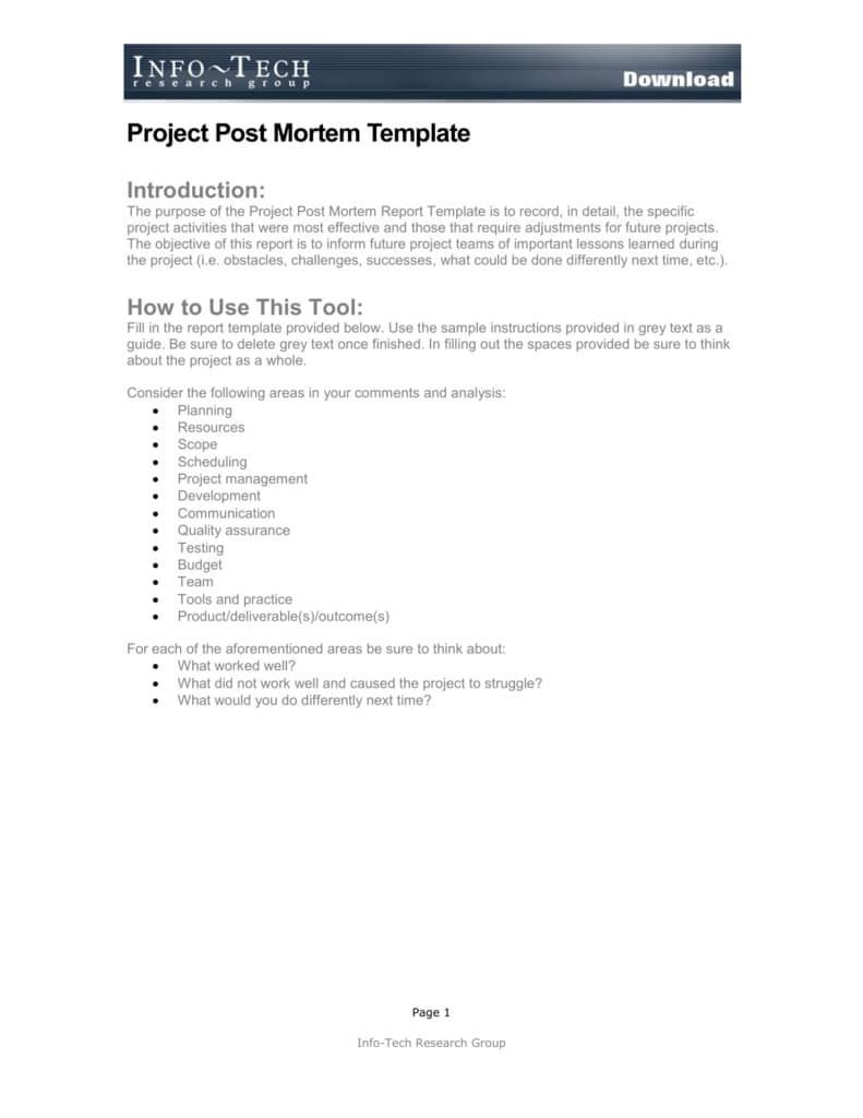 Project Post Mortem Template Regarding Post Project Report Template