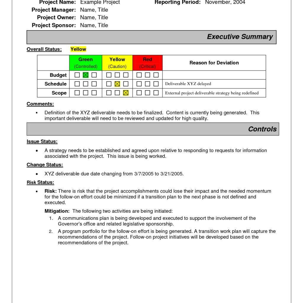 Project Status Report Sample | Project Status Report pertaining to One Page Project Status Report Template