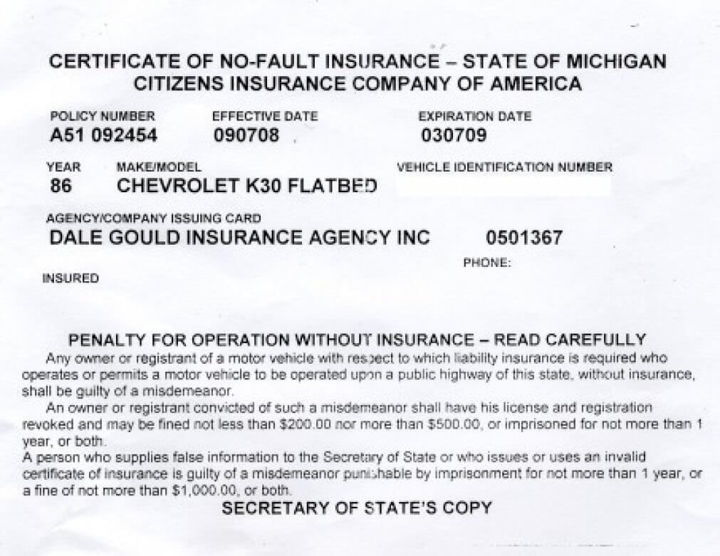 Proof Of Auto Insurance Template Free | Template Business with Proof Of Insurance Card Template