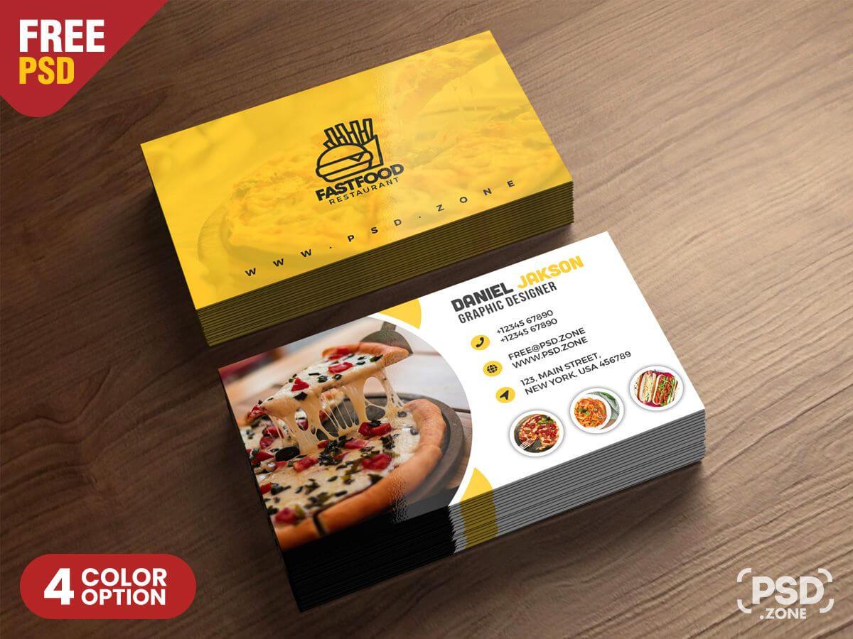 Psd Fast Food Restaurant Business Card Design   Freebie for Restaurant Business Cards Templates Free