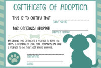 Puppy Adoption Certificate In 2019 | Adoption Certificate regarding Pet Adoption Certificate Template