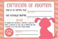 Puppy Adoption Certificate … In 2019 | Puppy Birthday inside Pet Adoption Certificate Template
