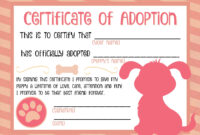 Puppy Adoption Certificate …   Party Ideas In 2019   Puppy regarding Toy Adoption Certificate Template