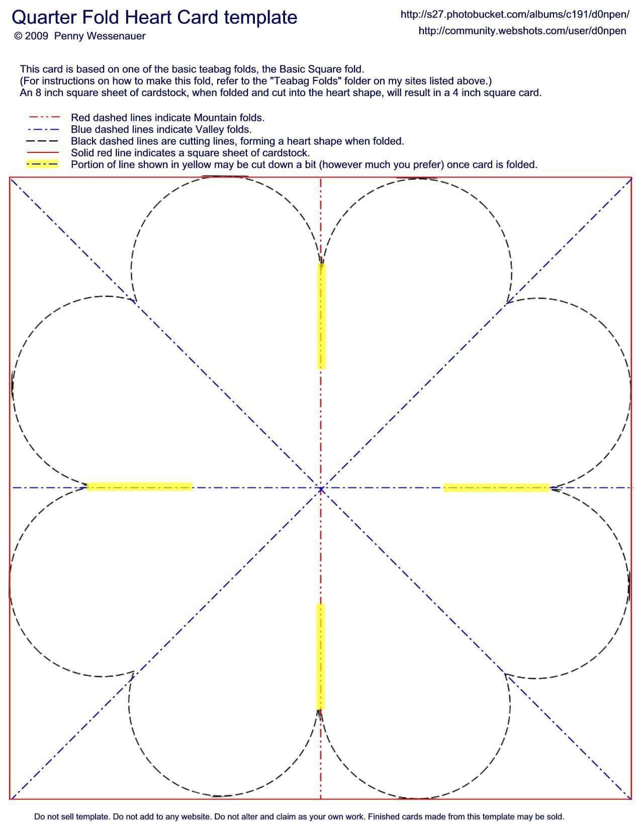 Quarter-Fold Heart Card Template | Valentines | Heart Cards intended for Quarter Fold Card Template