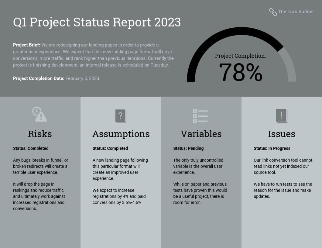Quarterly Project Status Progress Report Template Template With Quarterly Status Report Template