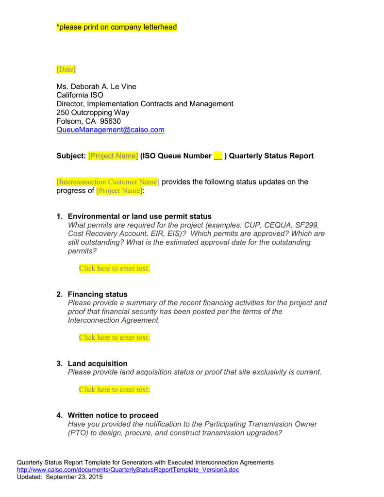 Queue Management Quarterly Status Report Template pertaining to Quarterly Status Report Template