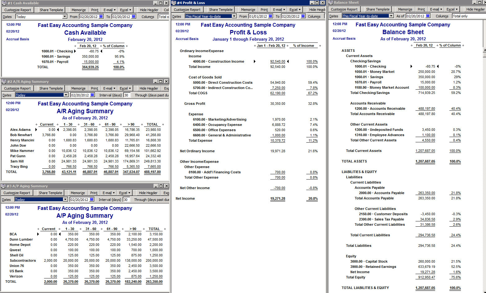 Quickbooks Balance Sheet Report in Quick Book Reports Templates