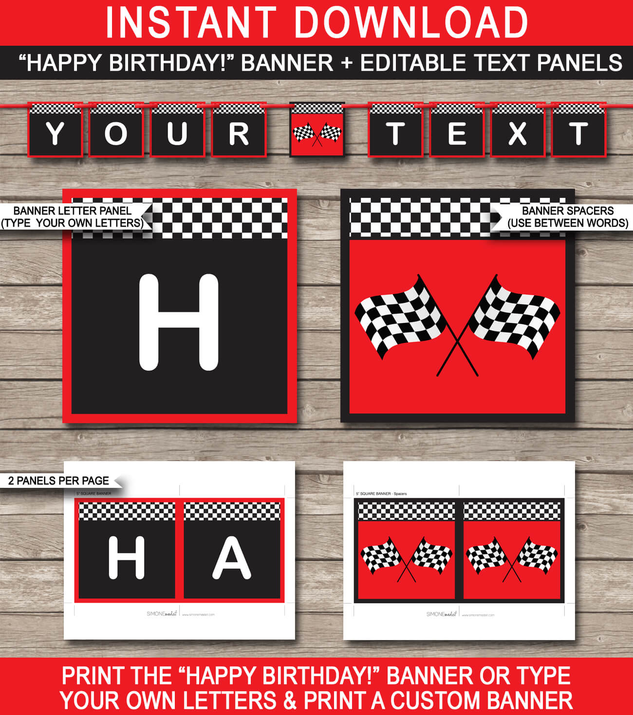 Race Car Party Banner Template – Red within Cars Birthday Banner Template