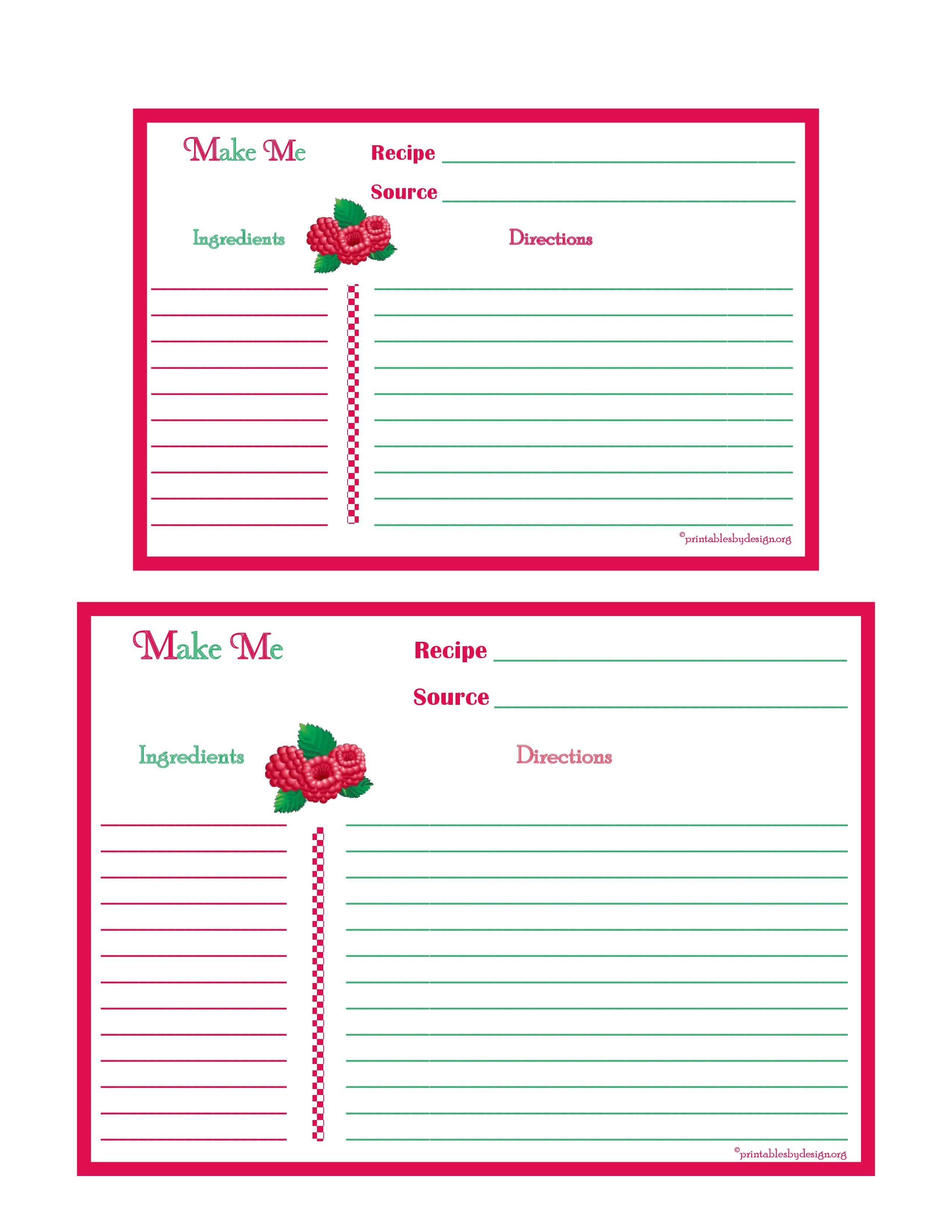 Raspberries Recipe Card - 4X6 & 5X7 Page | Recipe Keepers With 4X6 Photo Card Template Free