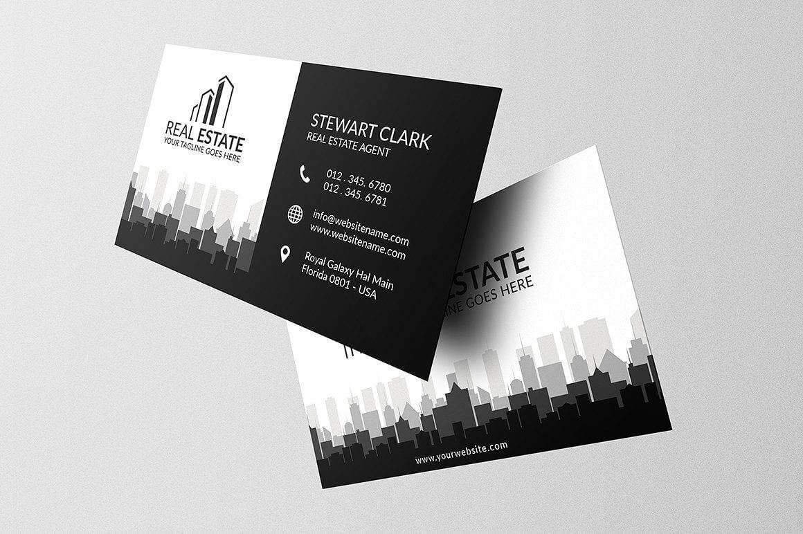 Real Estate Business Card Template #full#bleed#print#ready with Real Estate Agent Business Card Template