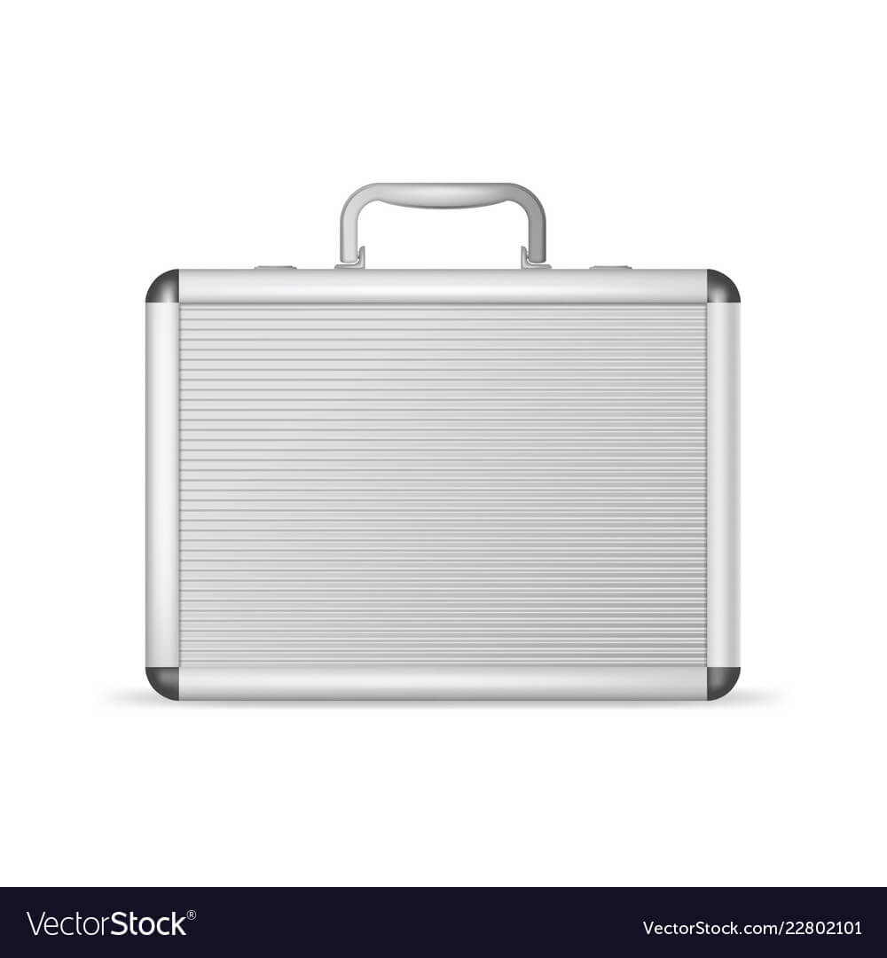 Realistic 3D Detailed Blank Aluminum Suitcase With Blank Suitcase Template