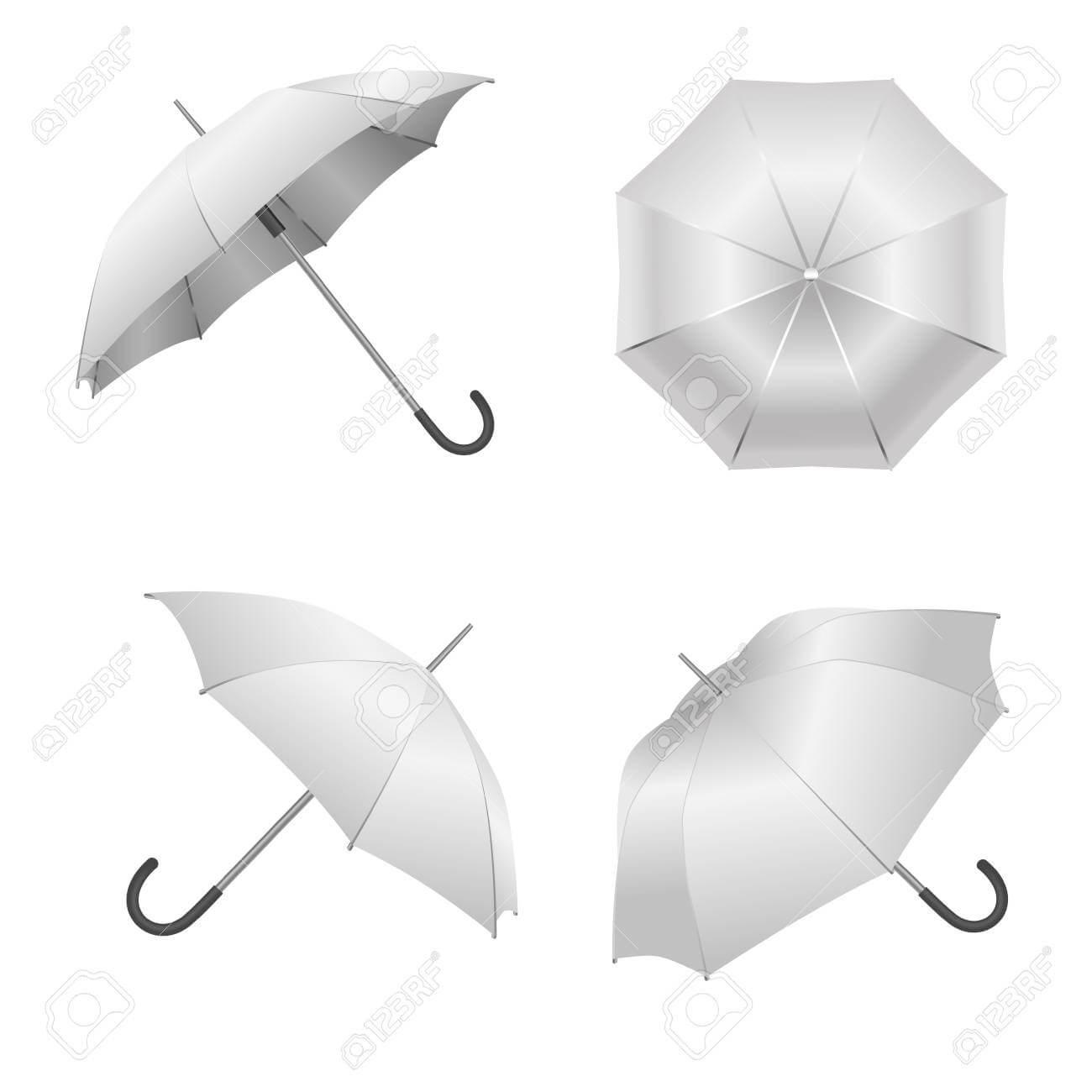 Realistic Detailed 3D White Blank Umbrella Template Mockup Set.. Inside Blank Umbrella Template