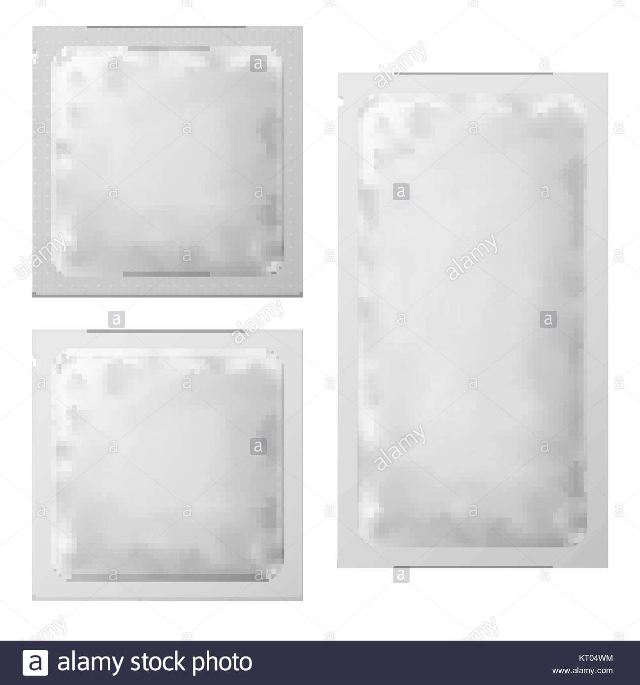 Realistic White Blank Sachet Template Packaging. Condom Or for Blank Packaging Templates