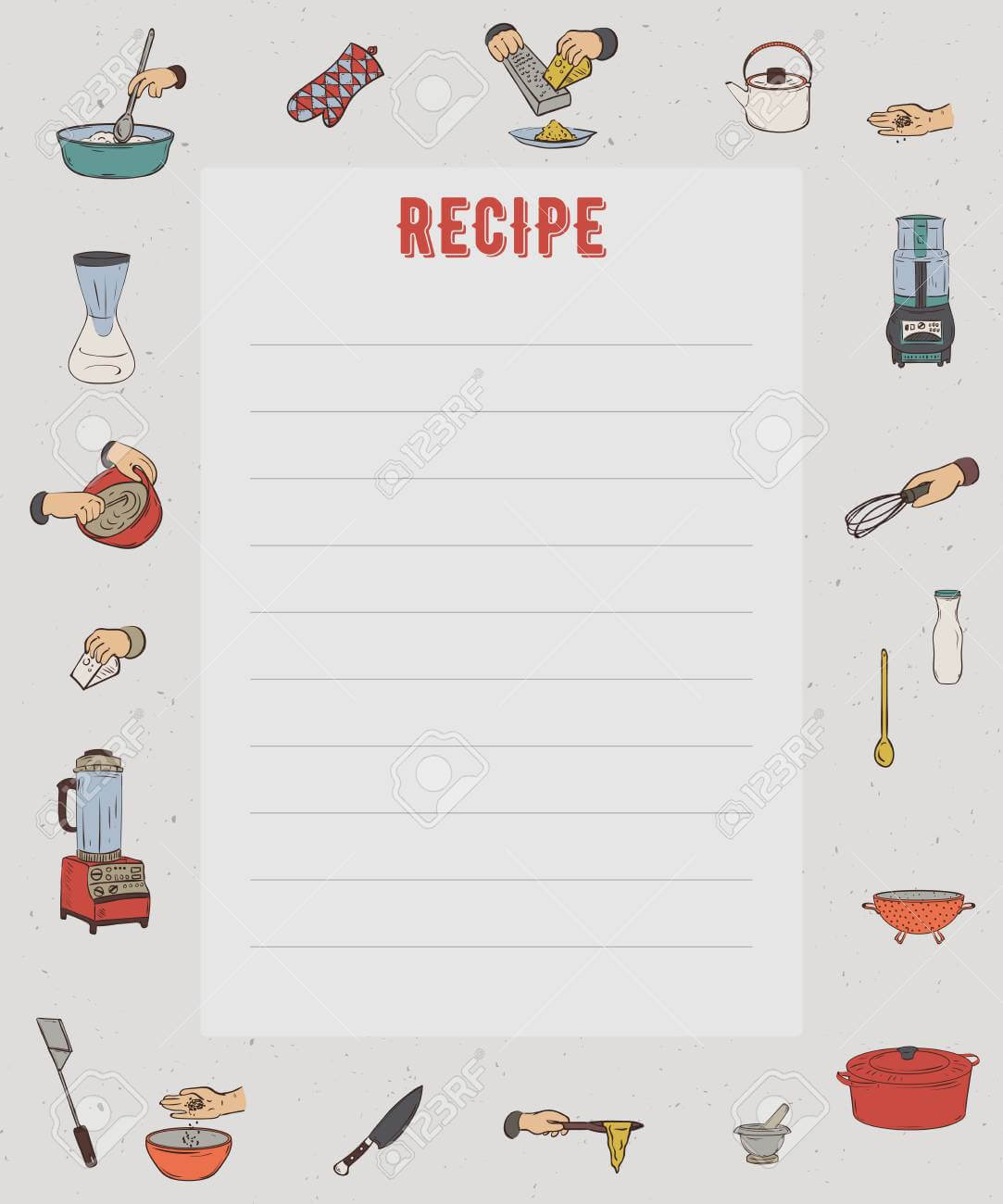Recipe Card. Cookbook Page. Design Template With Kitchen Utensils.. for Recipe Card Design Template
