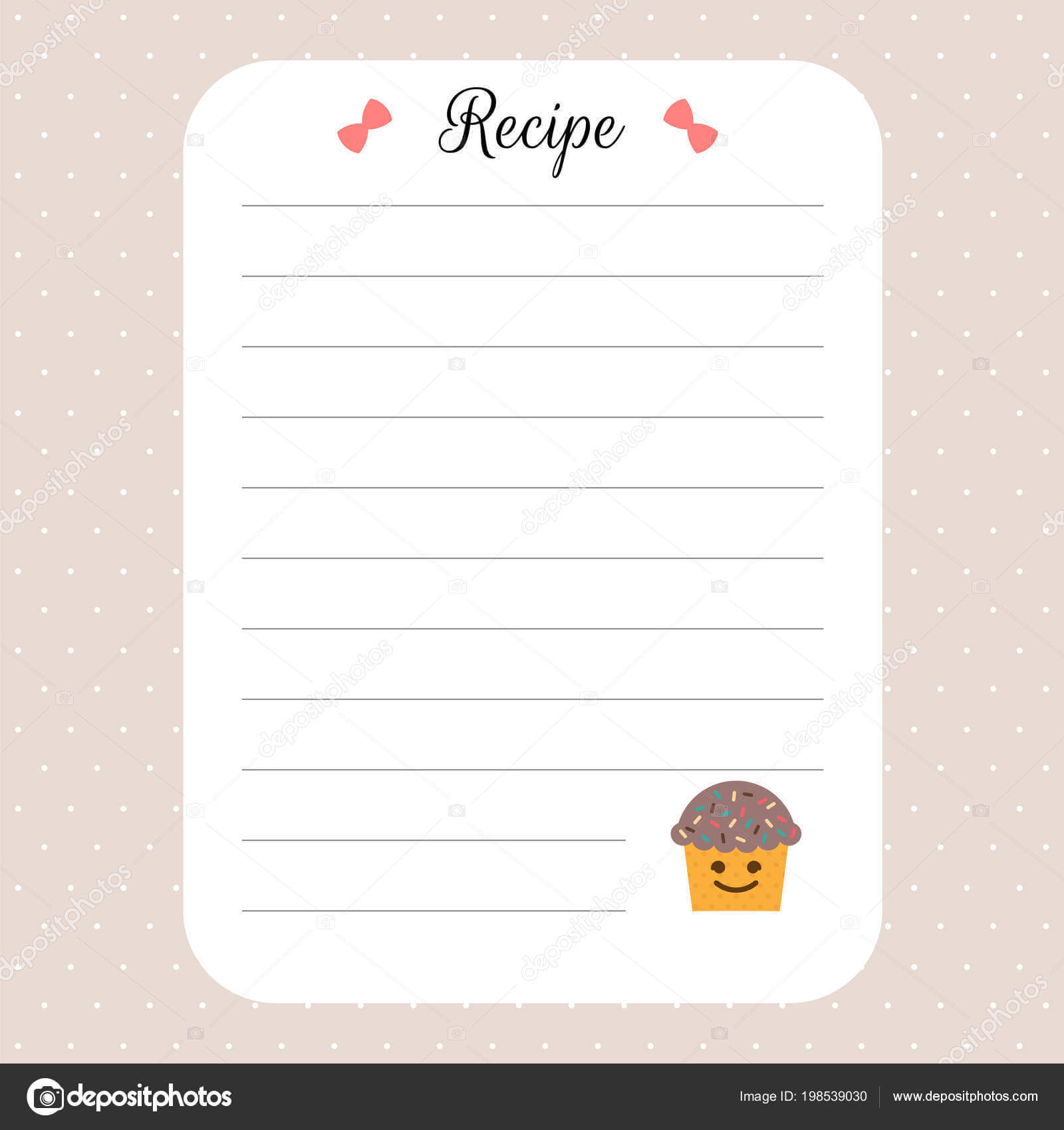 Recipe Card Template Cookbook Template Page Restaurant Cafe intended for Restaurant Recipe Card Template