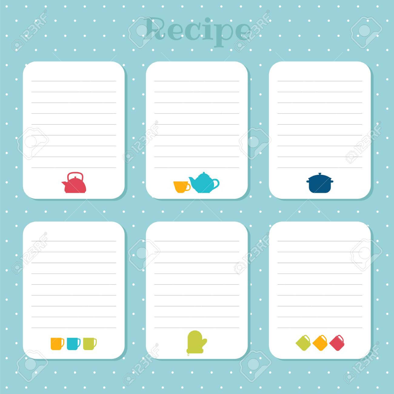 Recipe Cards Set. Cooking Card Templates. For Restaurant, Cafe,.. pertaining to Restaurant Recipe Card Template