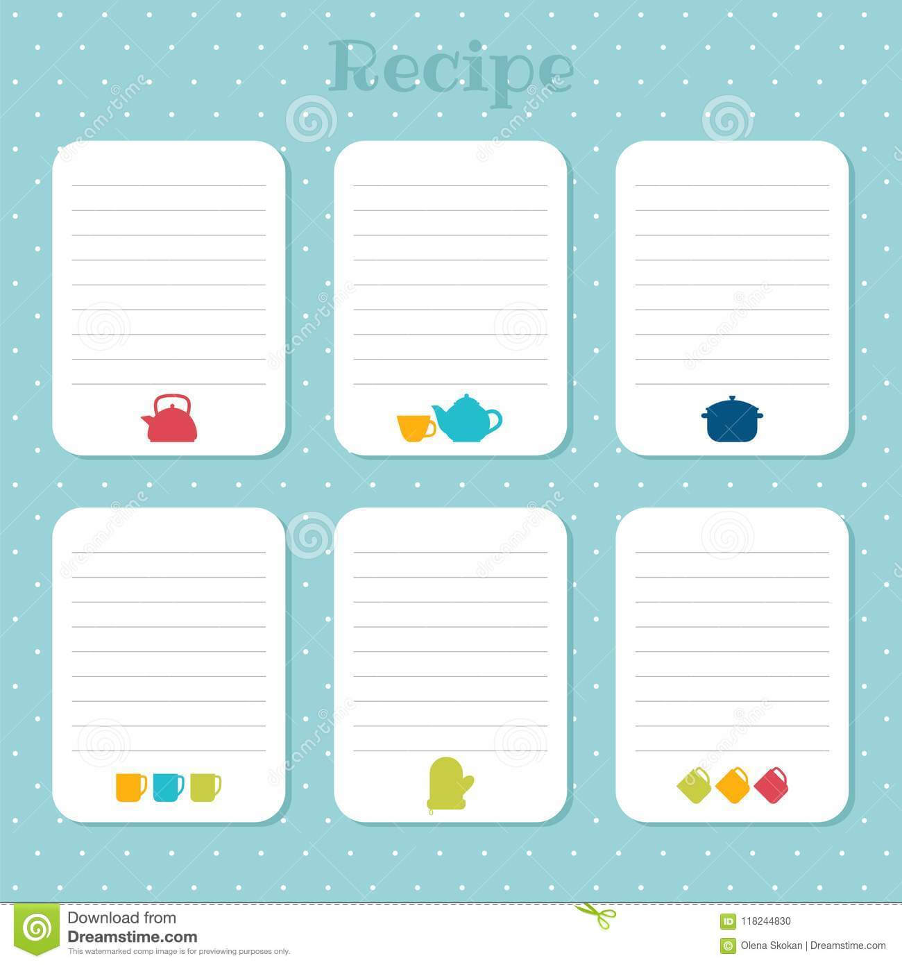 Recipe Cards Set. Cooking Card Templates. For Restaurant regarding Restaurant Recipe Card Template