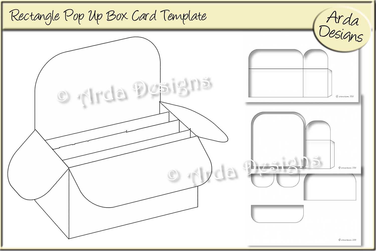 Rectangle Pop Up Box Card Cu Template throughout Card Box Template Generator