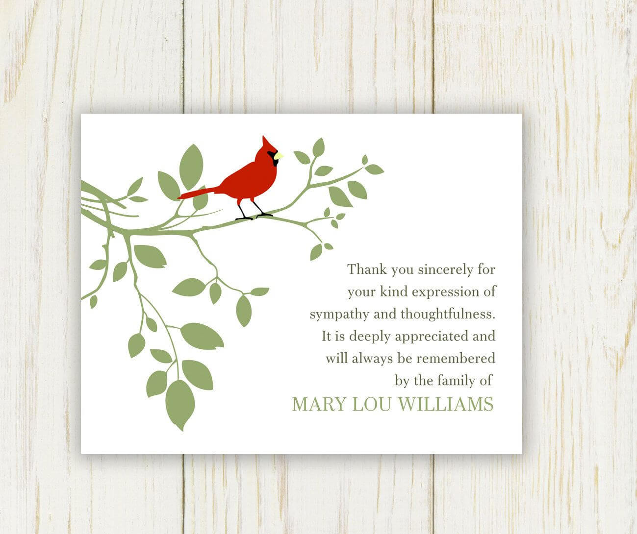 Red Bird Funeral Thank You Card Digital File Sympathy | Neba Inside Sympathy Thank You Card Template