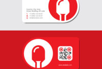 Red Business Card With Led Icon And Qr Code Pertaining To Qr Code Business Card Template