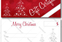 Red Christmas Gift Certificate pertaining to Merry Christmas Gift Certificate Templates