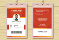 Red Employee Id Card Design Template with Work Id Card Template