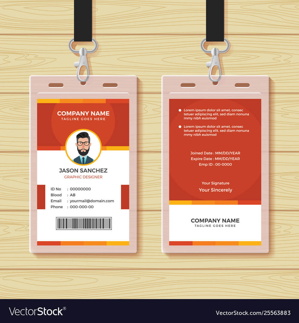 Red Employee Id Card Design Template Within Template For Id Card Free Download