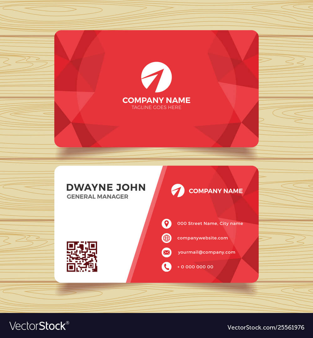 Red Geometric Business Card Template Within Calling Card Free Template